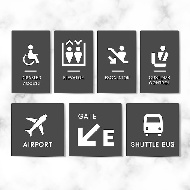 Airport Signe Icon Set Vector Vecteur gratuit
