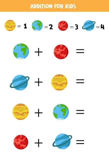 Ajout Pour Les Enfants Avec Des Planètes Du Système Solaire. Feuille De Travail Drôle Pour Les Enfants D'âge Préscolaire. Vecteur Premium