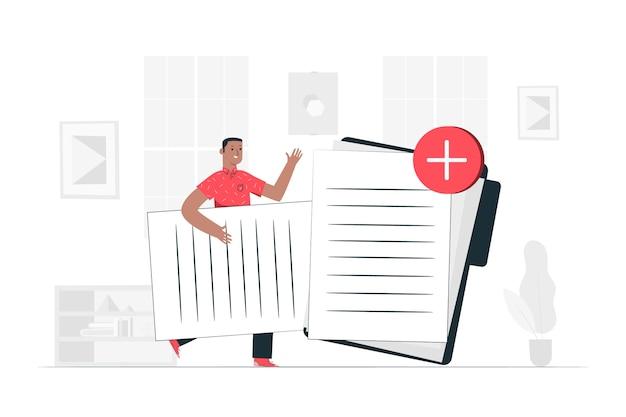 Ajouter des fichiers illustration de concept Vecteur gratuit