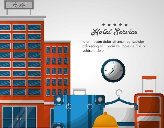 Alarme d'horloge de service d'hôtel Vecteur Premium