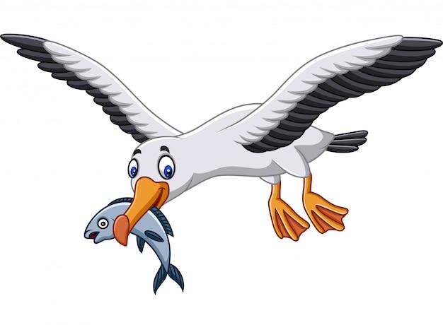 Albatros cartoon mangeant un poisson Vecteur Premium