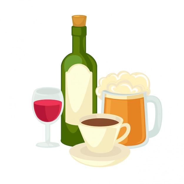 L'alcool boit du verre à vin, une bouteille de vin et un verre de bière. Vecteur Premium