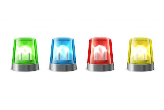 Alerte sirène, feux clignotants en couleurs rouge, bleu, jaune, vert, signaux d'alerte et d'urgence, Vecteur Premium