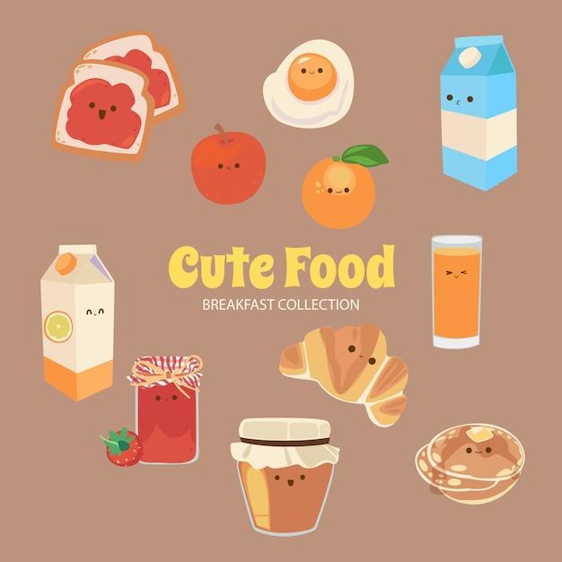 Alice cute rainbow food objects collection Vecteur Premium