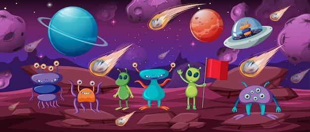 Alien Dans La Scène Spatiale Vecteur gratuit