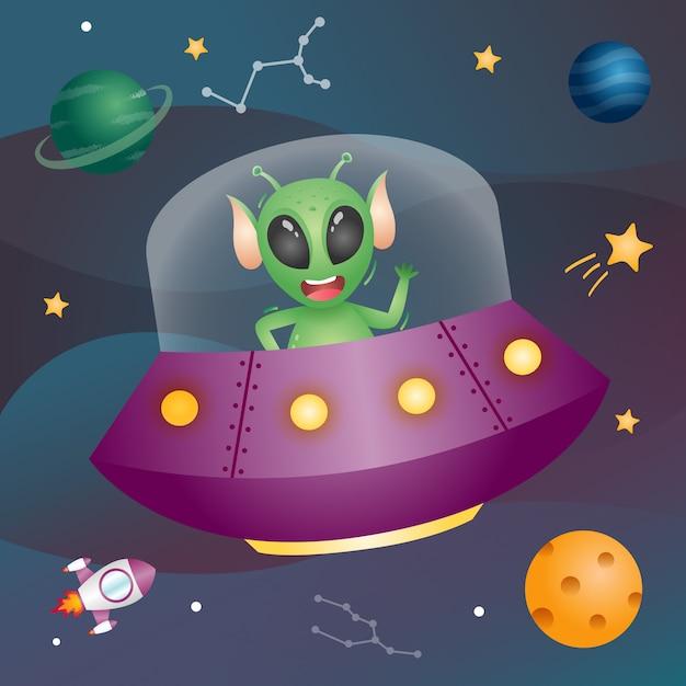 Alien Mignon Dans La Galaxie Spatiale. Illustration Vectorielle Vecteur Premium