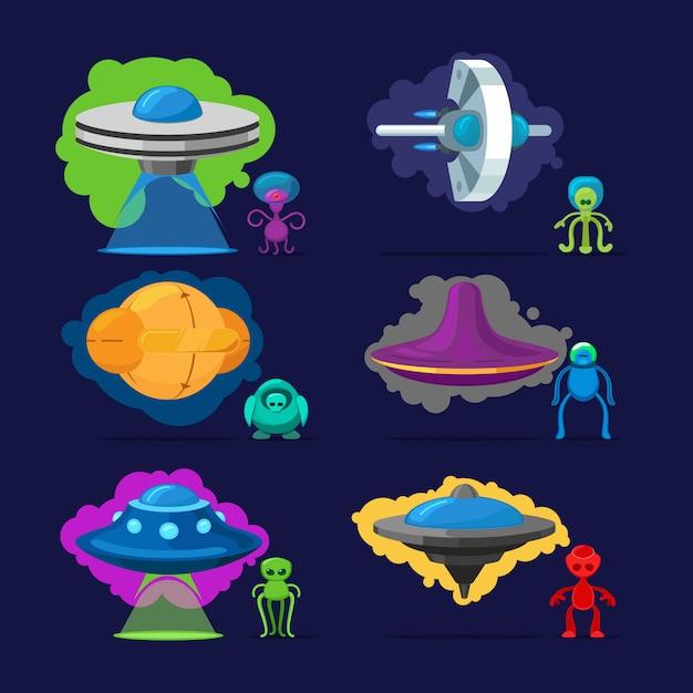 Aliens vector personnages Vecteur Premium