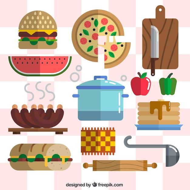 Alimentaire avec des outils de cuisine de style plat Vecteur gratuit