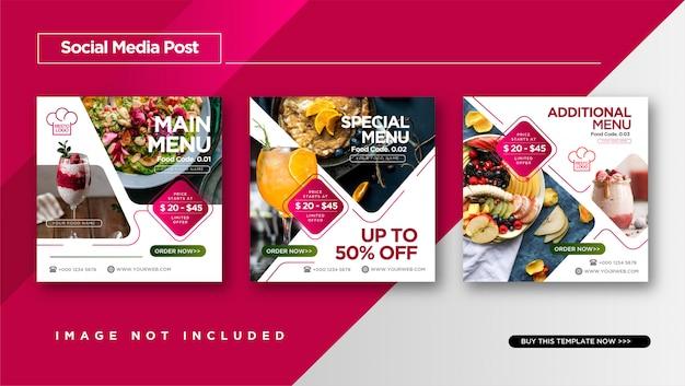 Alimentation et culinaire instagram post pour le modèle de promotion des médias sociaux. Vecteur Premium