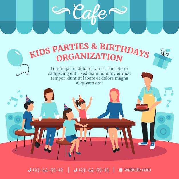 Alimentation saine pour les fêtes d'anniversaire des enfants avec des friandises Vecteur gratuit