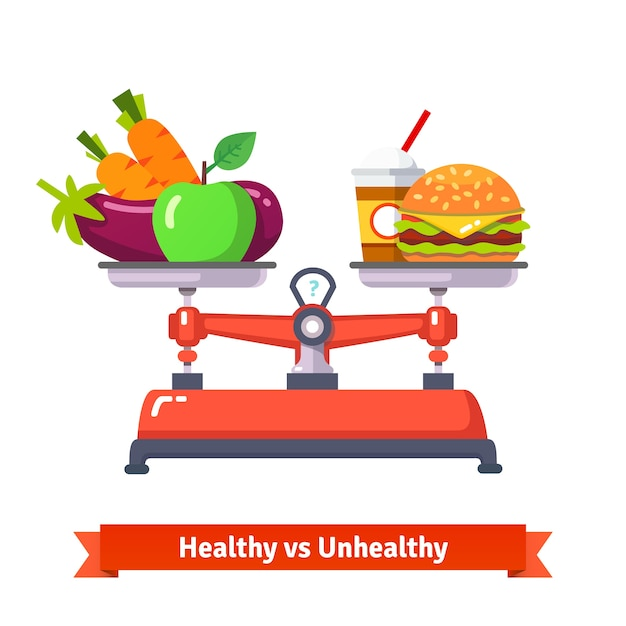 Alimentation Saine Versus Mauvaise Santé Vecteur gratuit