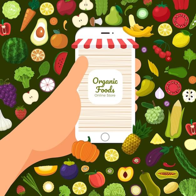 Aliments biologiques sains Vecteur Premium