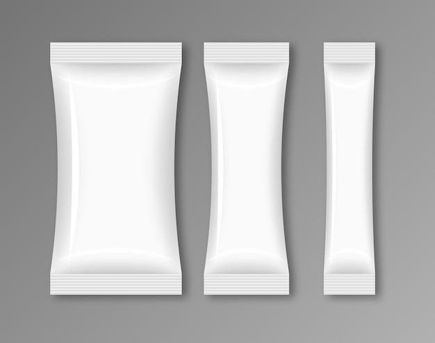 Aliments D'emballage De Flux Vide. Snack Pack Sac De Modèle De Conception De Papier D'aluminium. Vecteur Premium