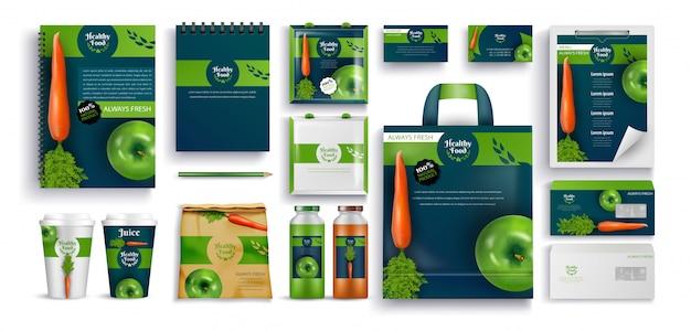 Aliments frais, produits écologiques, cahiers cadeaux, ensemble de tasses Vecteur Premium