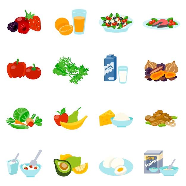 Aliments sains plats ensemble d'icônes Vecteur gratuit