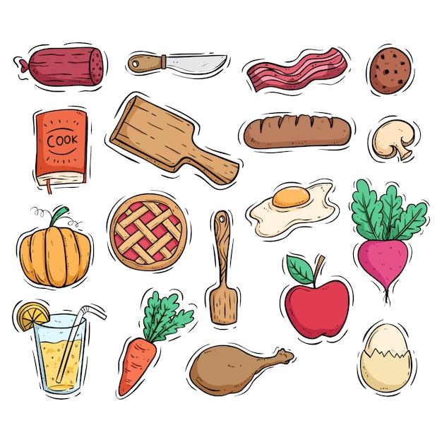 Aliments sains pour le petit déjeuner et ustensiles de cuisine avec style doodle coloré Vecteur Premium