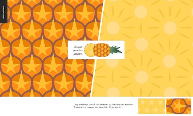 Aliments Sans Soudure, Fruits, Ananas Vecteur Premium