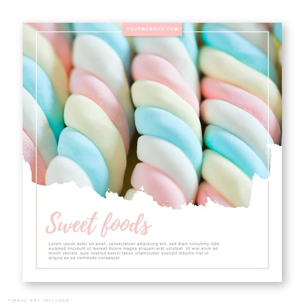 Aliments sucrés publication dans les médias sociaux Vecteur Premium