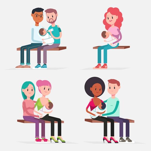 Allaitement Bébé Couples Traditionnels Et Lgbt. Caractères De Dessin Animé Plat De Vecteur Mis Illustration De Concept Isolé. Vecteur Premium