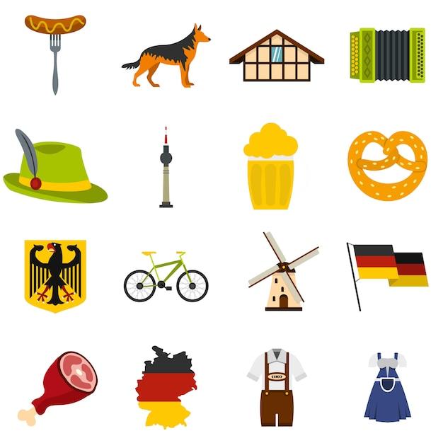 Allemagne définie des icônes à plat Vecteur Premium