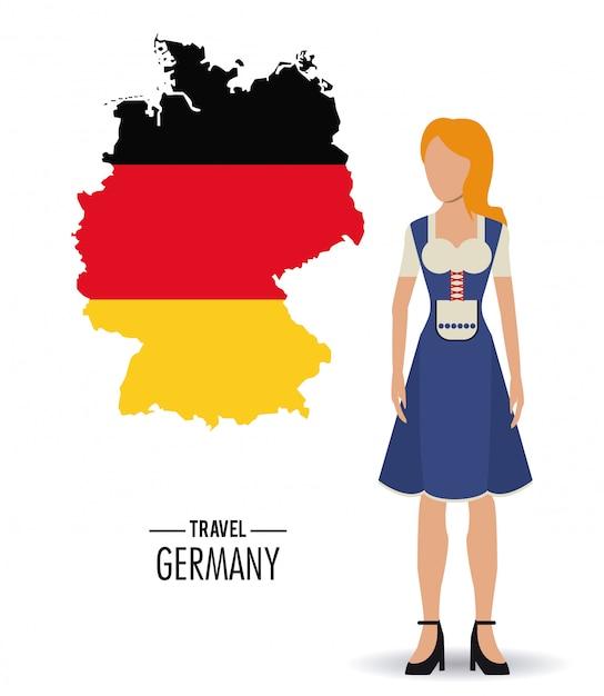 Allemagne. icône de la culture. Vecteur Premium