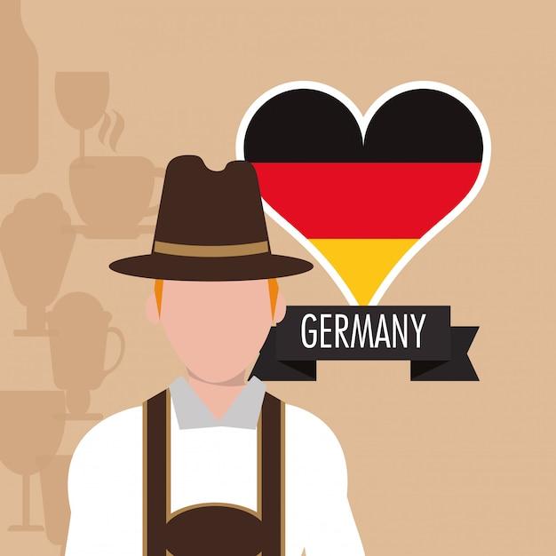 Allemagne oktoberfest bière icônes image Vecteur Premium