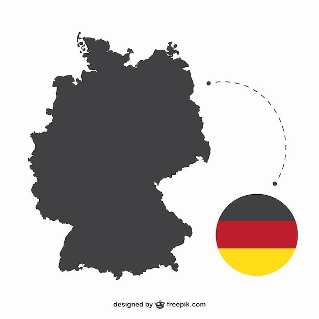 Allemagne silhouette et le drapeau Vecteur gratuit
