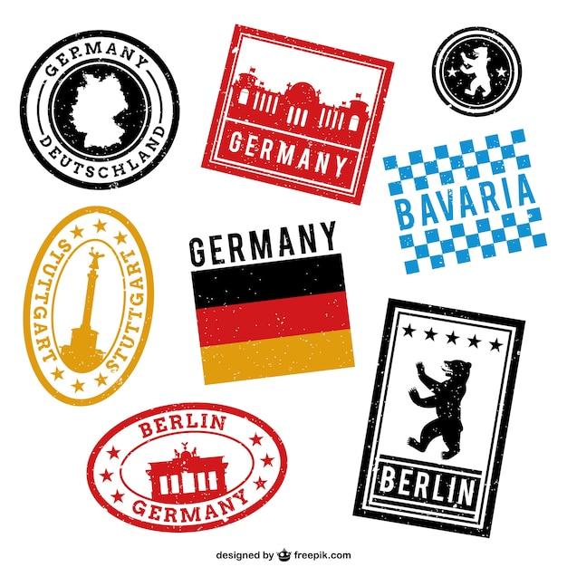 Allemagne timbres imprimés Vecteur gratuit