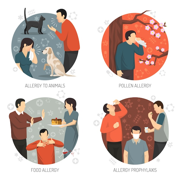 Allergic design icon set Vecteur gratuit