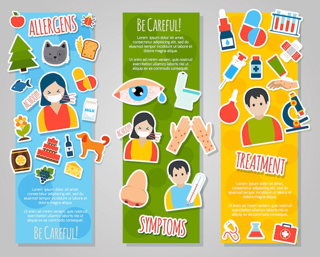 Allergies banner set Vecteur gratuit