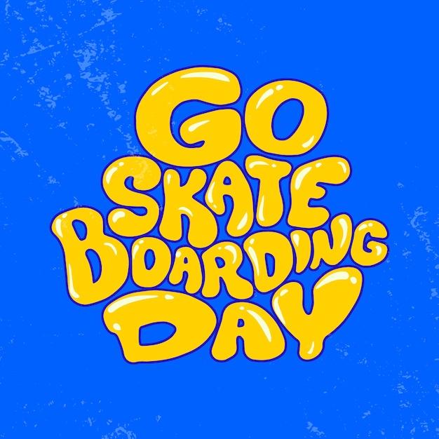 Allez Faire Du Skateboard. Illustration De Conception D'affiche. Vecteur Premium