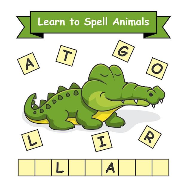 Alligator apprendre à épeler des animaux Vecteur Premium
