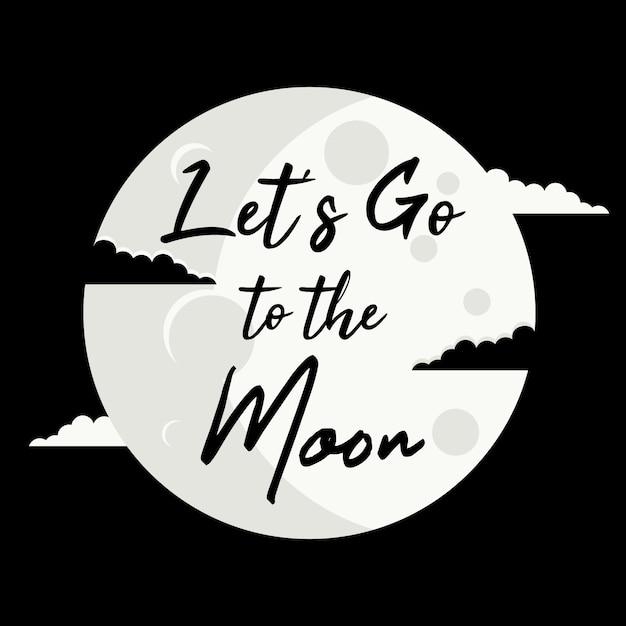 Allons sur la lune Vecteur Premium