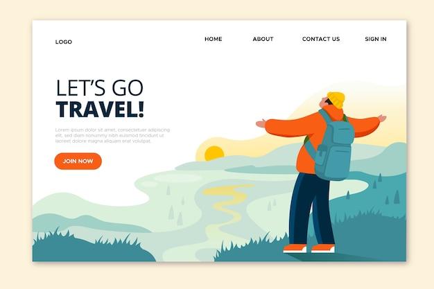 Allons Voyager Homme à Bras Ouverts Page De Destination Vecteur gratuit
