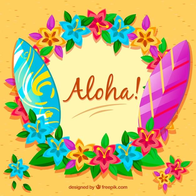 Aloha background avec planches de surf et fleurs Vecteur gratuit