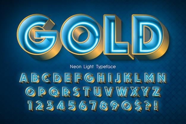 Alphabet 3d Au Néon, Police Extra Rougeoyante. Vecteur Premium