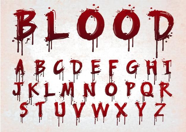 Alphabet abstrait de sang rouge. Vecteur Premium