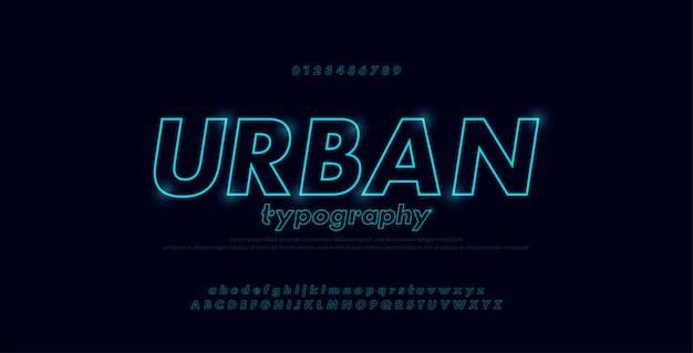 Alphabet abstrait urbain moderne néon ligne mince Vecteur Premium