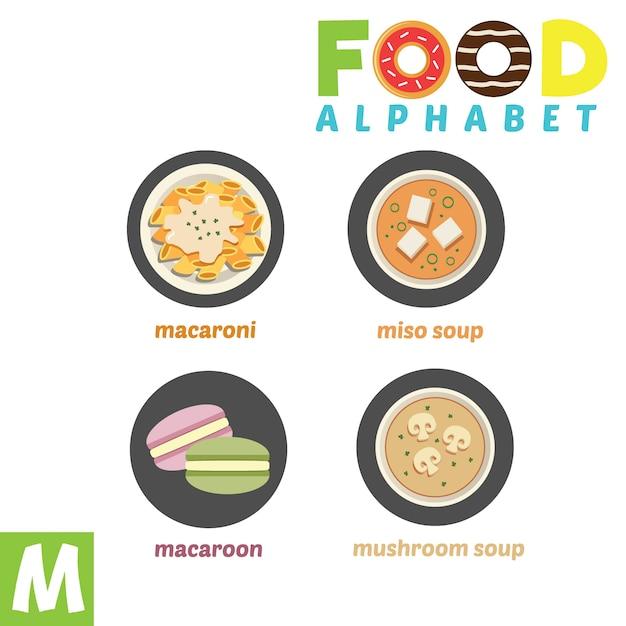 Alphabet Alimentaire Vecteur Premium