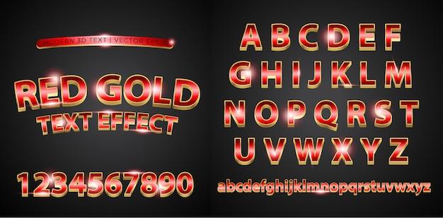 Alphabet alphabet or rouge 3d Vecteur Premium