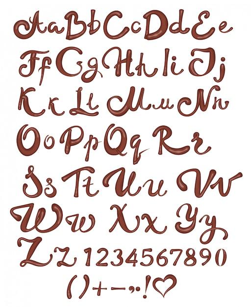 Alphabet Anglais Au Chocolat. Lettres Et Chiffres Manuscrits Bruns Sur Fond Blanc Vecteur Premium