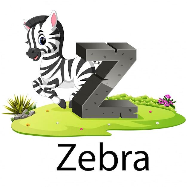 Alphabet animal mignon zoo z Vecteur Premium