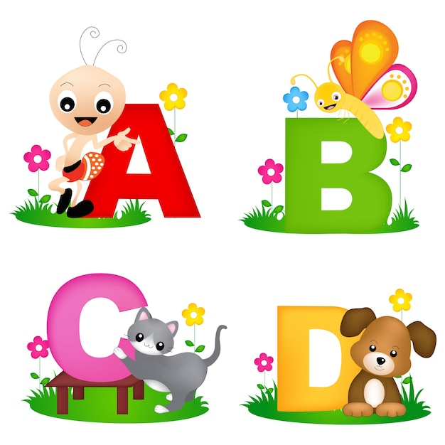 Alphabet animal Vecteur Premium