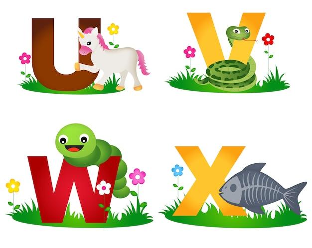 Alphabet animal Vecteur Premium