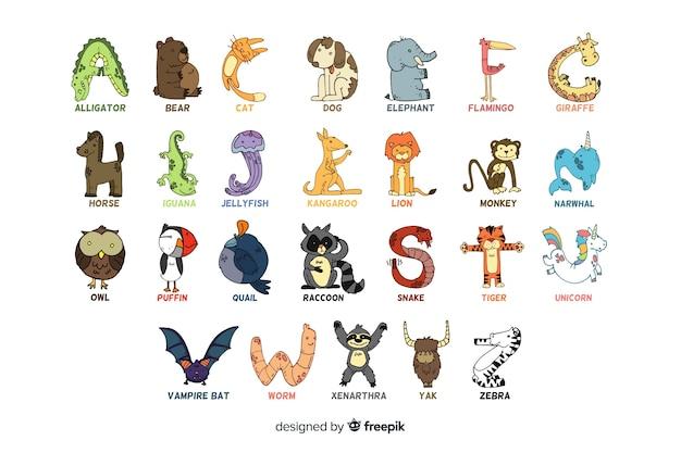 Alphabet des animaux sur fond blanc Vecteur gratuit