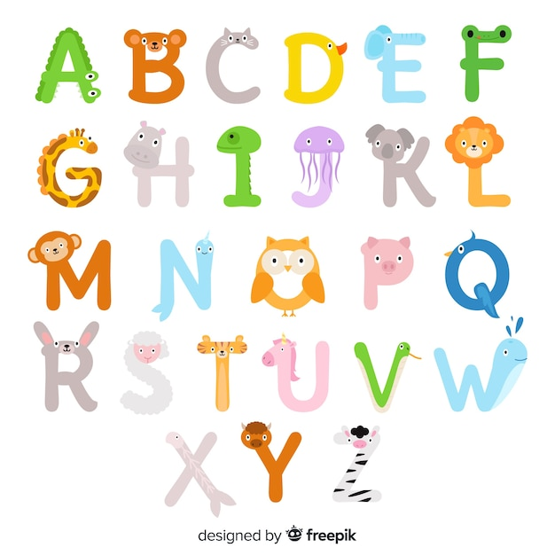 Alphabet des animaux illustrés de a à z Vecteur gratuit