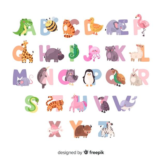Alphabet des animaux avec des mammifères et des oiseaux Vecteur gratuit