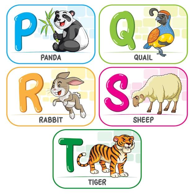 Alphabet des animaux pqrst Vecteur Premium