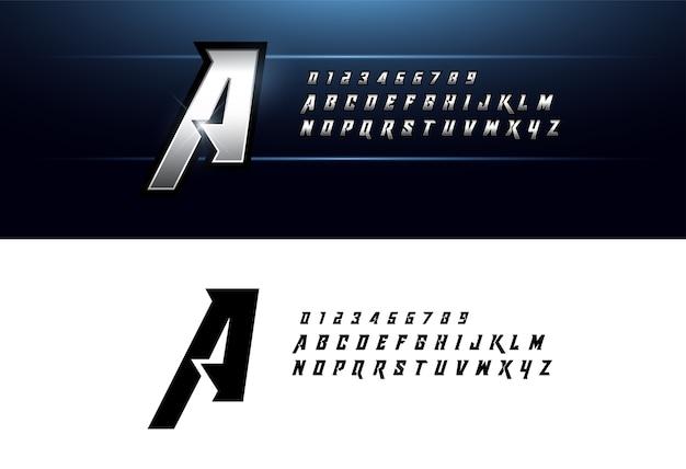 Alphabet argent métallique élégant polices de lettres d'argent Vecteur Premium