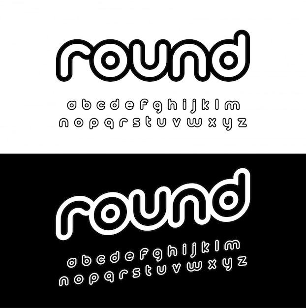 Alphabet arrondi créatif. Vecteur Premium